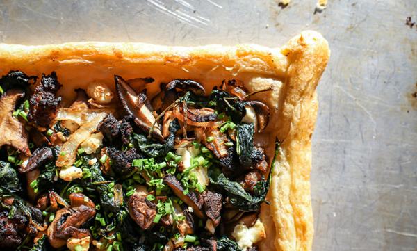 Mushroom, Goat Cheese & Greens Tart2