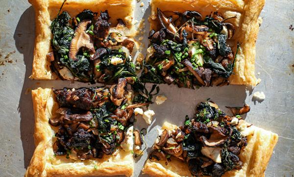 Mushroom, Goat Cheese & Greens Tart1